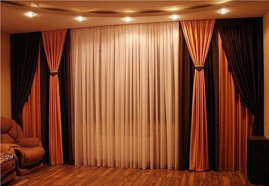 Двойные шторы для гостиной фото
