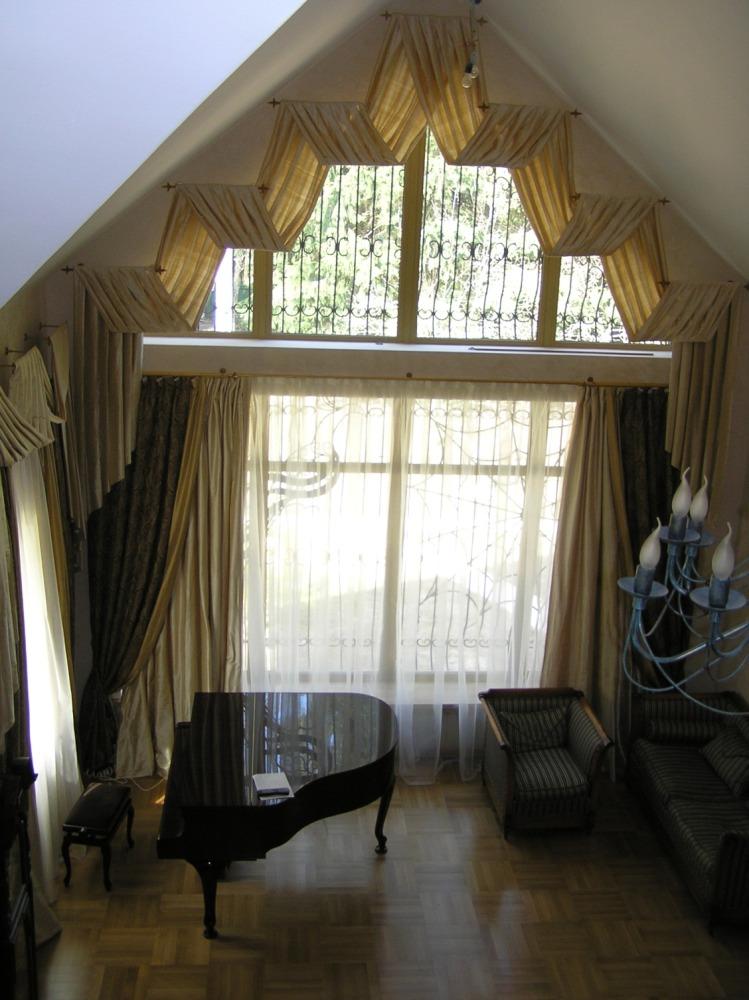 Тюль на треугольные окна